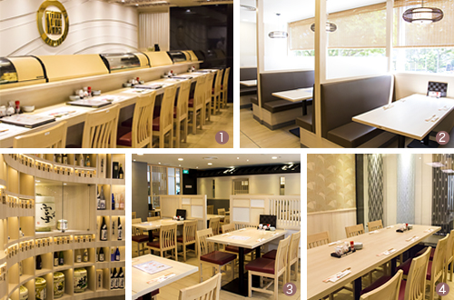 1.Counter - 2.Booth -  3.Table - 4.Private party room (max.20 persons)